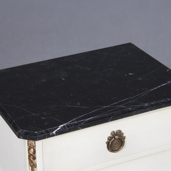 33925JWI Vintage Square Nightstand Perugia Marble Top In Ivory Finish