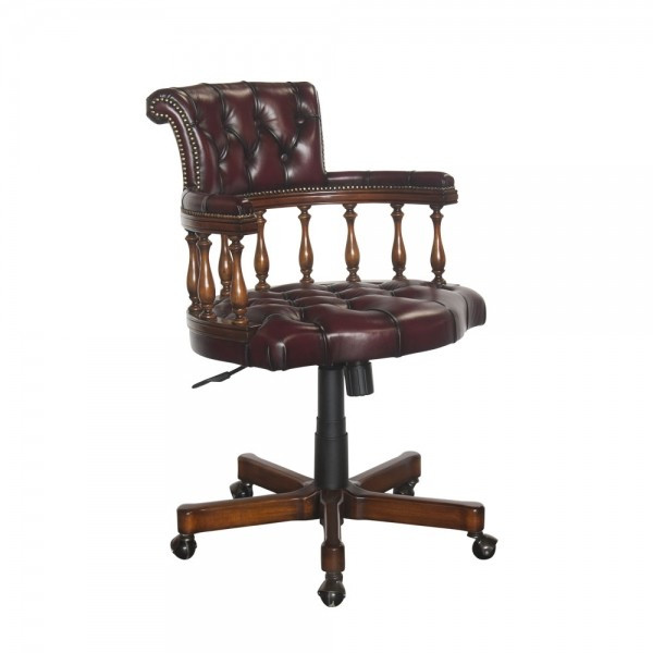 33938NWN Vintage Captain Chair With Tufted Leather On Wheels