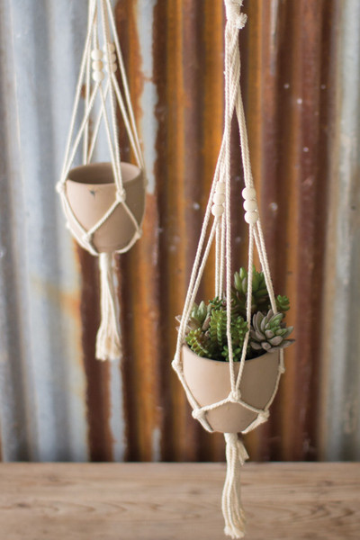 Kalalou Cotton Macrame Hanger with Clay Pot - (Pack Of 4) CGL4034