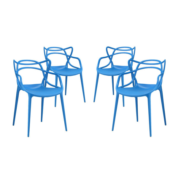 Modway Entangled Dining Chairs - Set Of 4 - Blue EEI-2348-BLU-SET