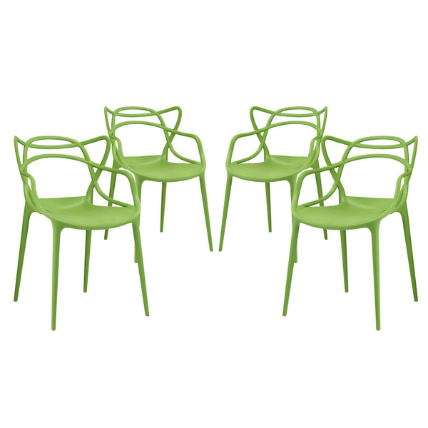 Modway Entangled Dining Chairs - Set Of 4 - Green EEI-2348-GRN-SET