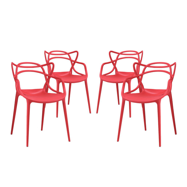 Modway Entangled Dining Chairs - Set Of 4 - Red EEI-2348-RED-SET