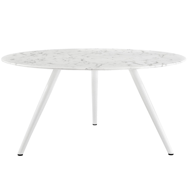 """Modway Lippa 60"""" Round Artificial Marble Dining Table With Tripod Base"""