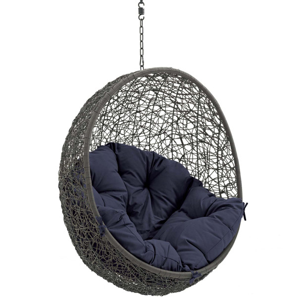 Modway Hide Outdoor Patio Swing Chair Without Stand-Gray/Navy EEI-2654