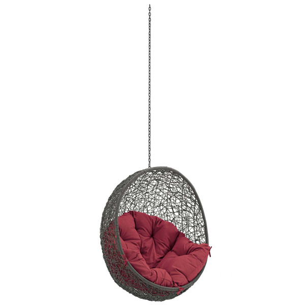 Modway Hide Outdoor Patio Swing Chair Without Stand-Gray/Red EEI-2654-GRY-RED