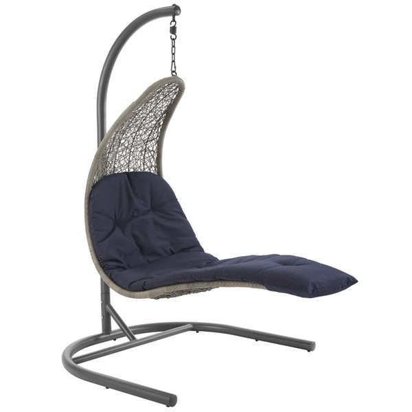 EEI-2952-LGR-NAV Landscape Hanging Chaise Lounge Outdoor Patio Swing Chair By Modway