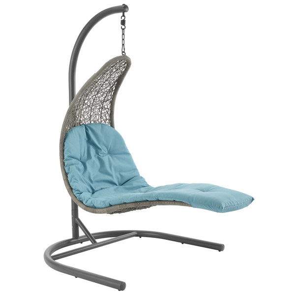 EEI-2952-LGR-TRQ Landscape Hanging Chaise Lounge Outdoor Patio Swing Chair By Modway