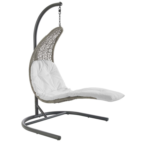 EEI-2952-LGR-WHI Landscape Hanging Chaise Lounge Outdoor Patio Swing Chair By Modway