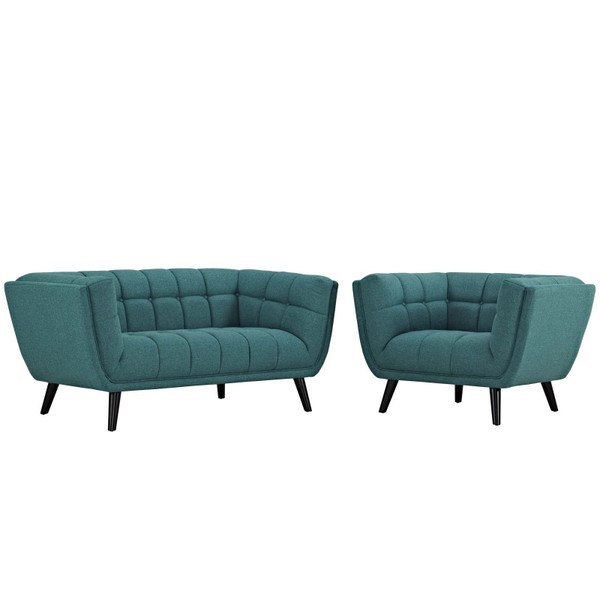 EEI-2972-TEA-SET Bestow 2 Piece Upholstered Fabric Loveseat And Armchair Set By Modway