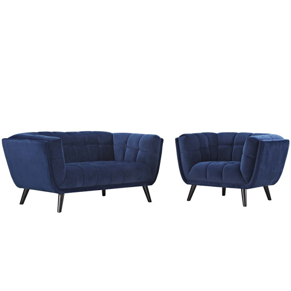 EEI-2973-NAV-SET Bestow 2 Piece Velvet Loveseat And Armchair Set By Modway