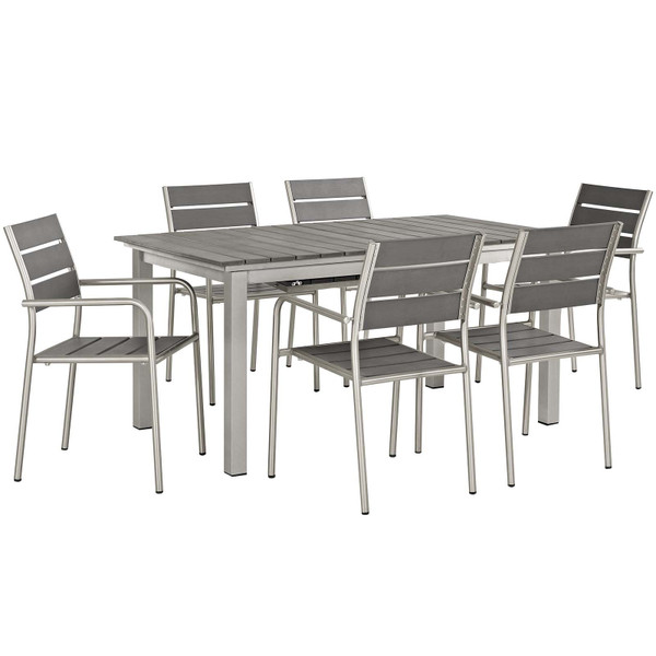 Modway Shore 7 Piece Outdoor Patio Aluminum Outdoor Dining Set
