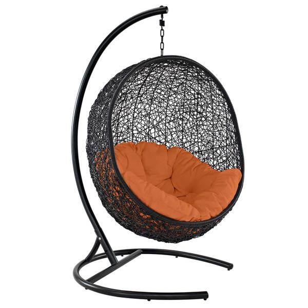 Modway Encase Swing Outdoor Patio Wicker Rattan Lounge Chair EEI-739-ORA-SET