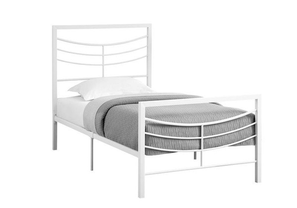 Monarch Twin Size Bed - White Metal Frame I 2640T