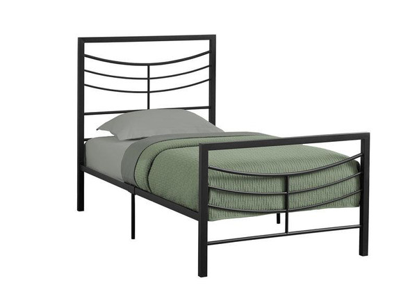 Monarch Twin Size Bed - Black Metal Frame I 2641T