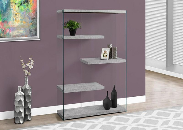 """Monarch Bookcase - 60""""H / Grey Cement With Tempered Glass I 3234"""