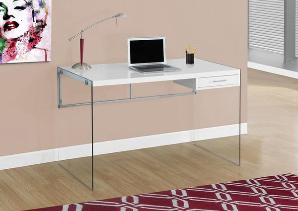 "Monarch Computer Desk - 48""L / Glossy White / Tempered Glass I 7209"