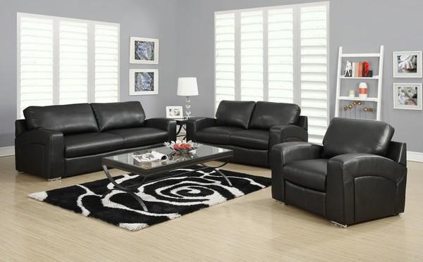 Monarch Black Bonded Leather Love Seat I 8502BK