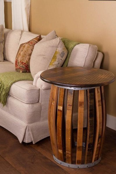 1040 Napa Stave And Hoop End Table