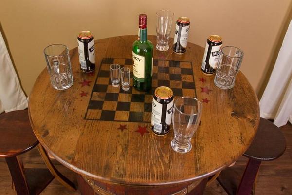 1097 Napa Whiskey Barrel Game Table Set