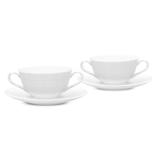 1655-410B Cher Blanc 10-Oz 4-Pc. Soup Cup And Saucer by Noritake