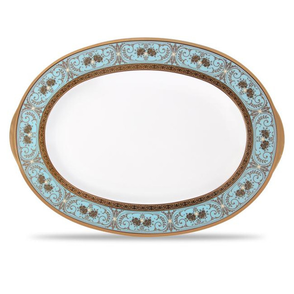 """4857-413 Turquoise Blue Accents 14"""" Oval Platter by Noritake"""