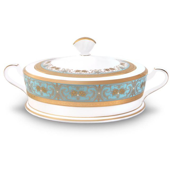 4857-419 Turquoise Blue Accents Covered Vegetable Bowl by Noritake