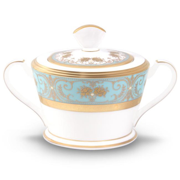 4857-422 Turquoise Blue Accents Sugar With Cover by Noritake