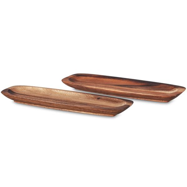 """W001-676B Wood 12"""" Rectangular Platters Set Of 2 by Noritake"""
