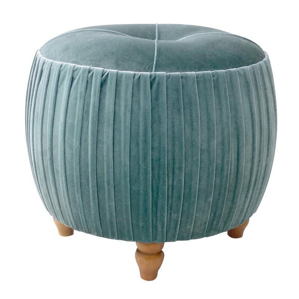 New Pacific Direct Helena Emerald Small Round Ottoman with Natural Wood Legs 1600008-185