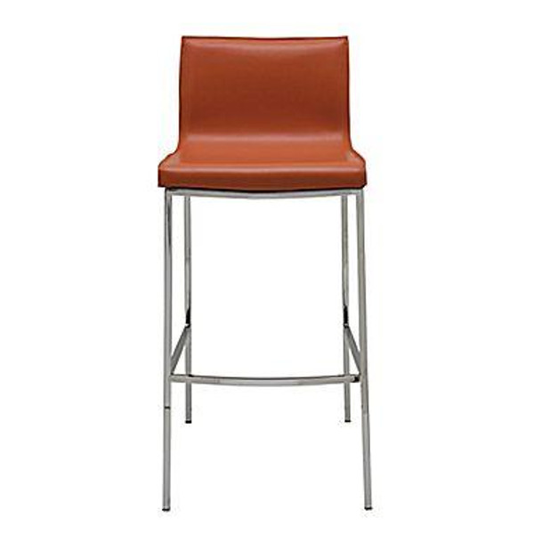 Nuevo Contemporary Orange Leather Rectangle Colter Bar Stool HGAR283