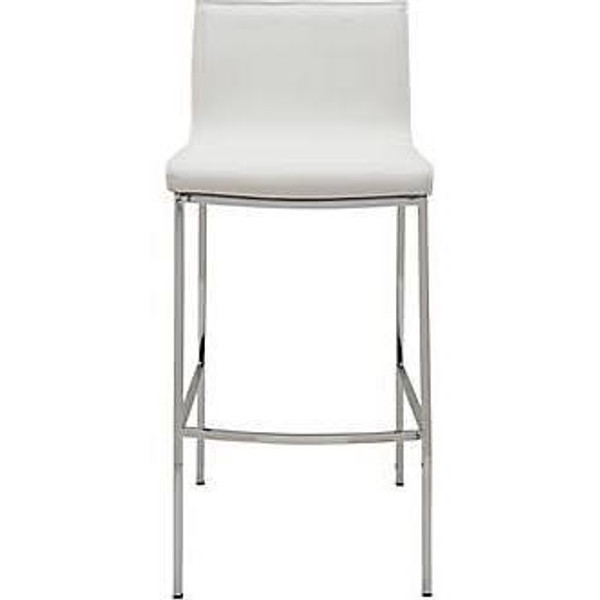 Nuevo Contemporary White Leather Rectangle Colter Bar Stool HGAR285