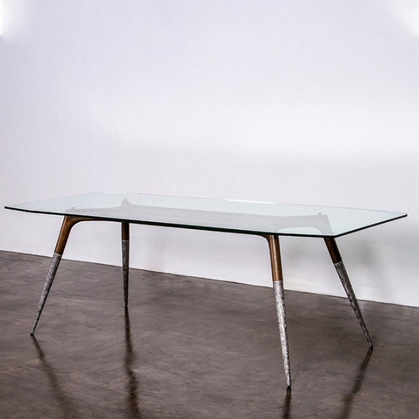Nuevo Assembly Dining Table - Clear/Silver HGDA535