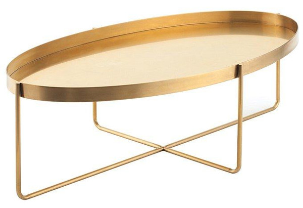 Nuevo Modern Gold Steel Oval Gaultier Coffee Table HGDE130