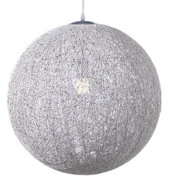 Nuevo 30 Inch Silver Fabric String 30 Pendant Lamp Single Bulb HGML368