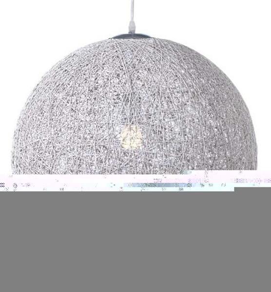 Nuevo 36 Inch Silver Fabric String 36 Pendant Lamp Single Bulb HGML369
