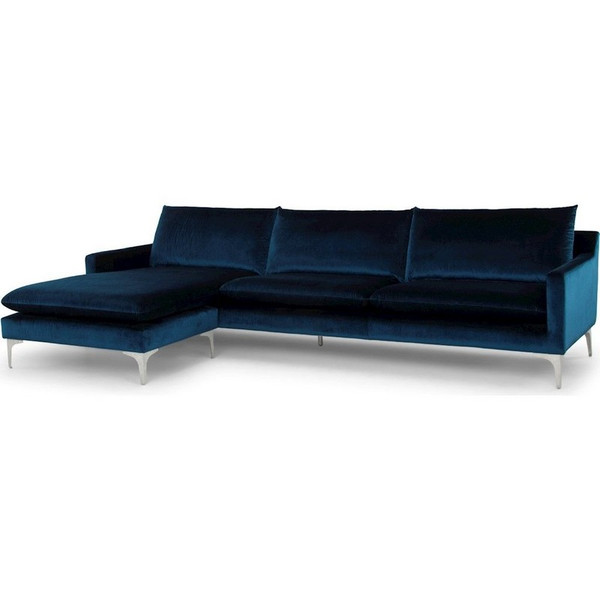Nuevo Anders Sectional Sofa - Midnight Blue/Silver HGSC375