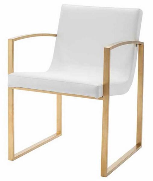 Nuevo Modern White Stainless Rectangle Clara Dining Armchair HGTB381