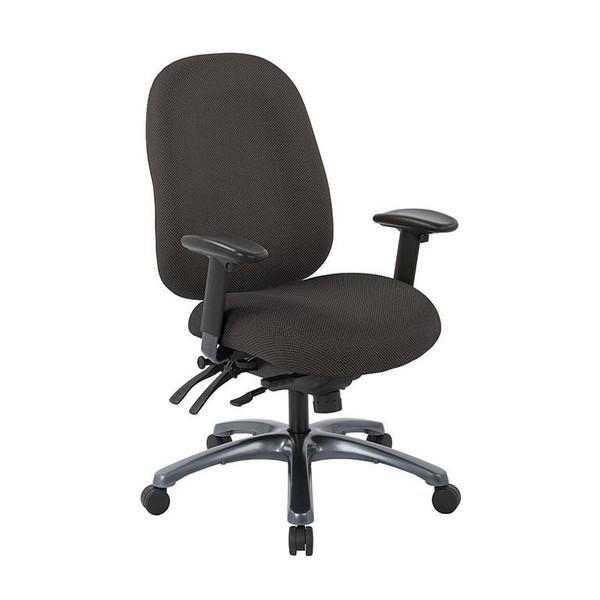 Office Star Multi-Function High Back Chair W/ Seat Slider & Titanium Finish Base - Shale