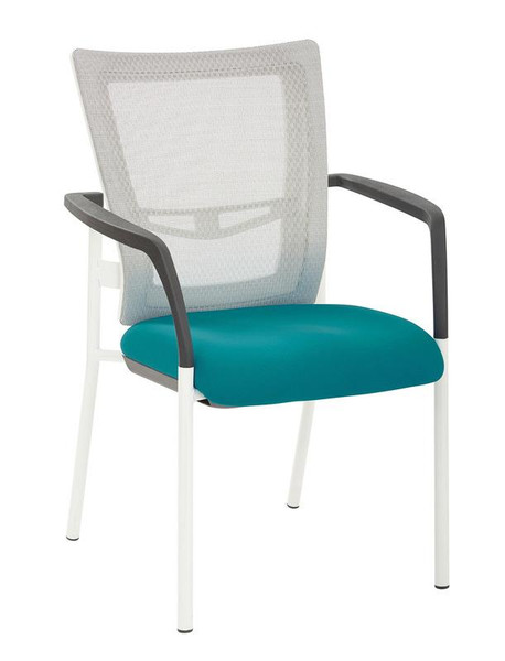 Office Star White Progrid Mesh Back W/ Padded Blue Fabric Seat Visitors Chair 8810W-7