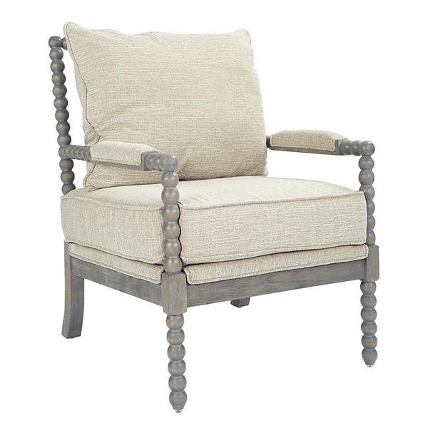 Office Star Abbot Chair In Linen Fabric With Brushed Grey Base K/D ABB-BY6