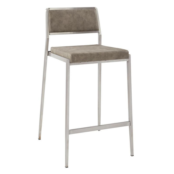 """Office Star Amani 26"""" Counter Stool 2/Ctn In Retro Taupe Fabric W/ Stainless Steel Base"""