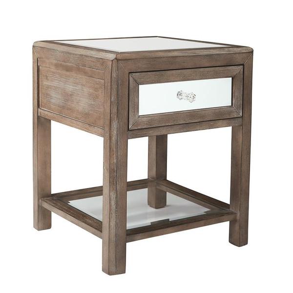 Office Star Dorian Accent Table In Dark Taupe Finish W/ Mirror Top K/D BP-DORAT-DTM