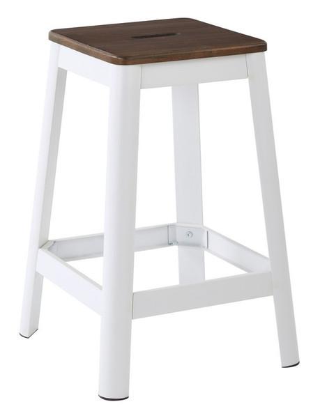 "Office Star Hammond 26"" Metal Barstool With Darkwood/White Kd HMM9426D-C231"