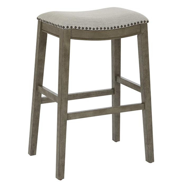 """Office Star Saddle Stool 30"""" In Grey Fabric & Antique Grey Base 2-Pack MET4330AG-GRY"""
