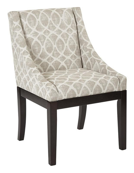 Office Star Monarch Easy-Care Wingback Chair In Mist Geo Sand Fabric W/ Solid Wood Legs