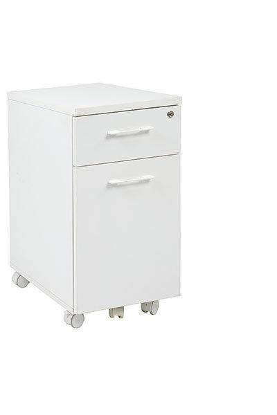 Office Star Prado Mobile File In White With Hidden Drawer And Castors PRD3085-WH