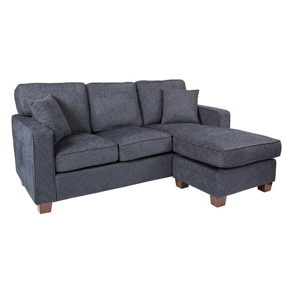 Office Star Russell Sectional In Navy Fabric W/ 2 Pillows & Coffee Finished Legs