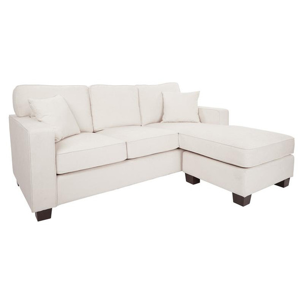 Office Star Russell Sectional In Ivory Fabric W/ 2 Pillows & Coffee Finished Legs