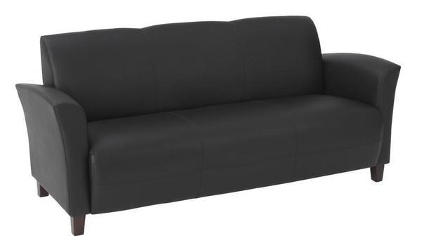 Office Star Black Bonded Leather Sofa With Cherry Legs SL2273EC3