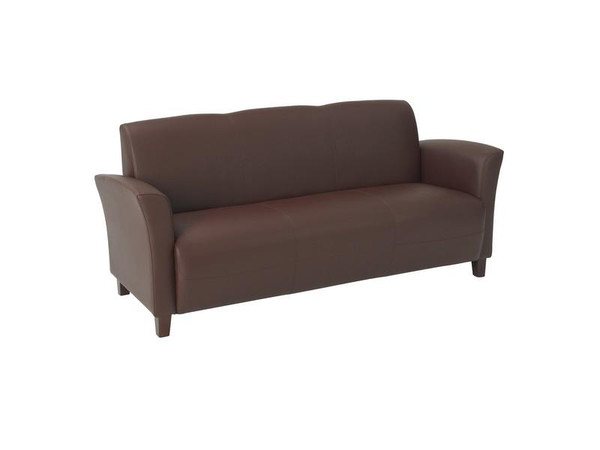Office Star Wine Bonded Leather Sofa With Cherry Legs SL2273EC6